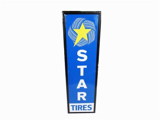 VINTAGE STAR TIRES SELF-FRAMED TIN SIGN
