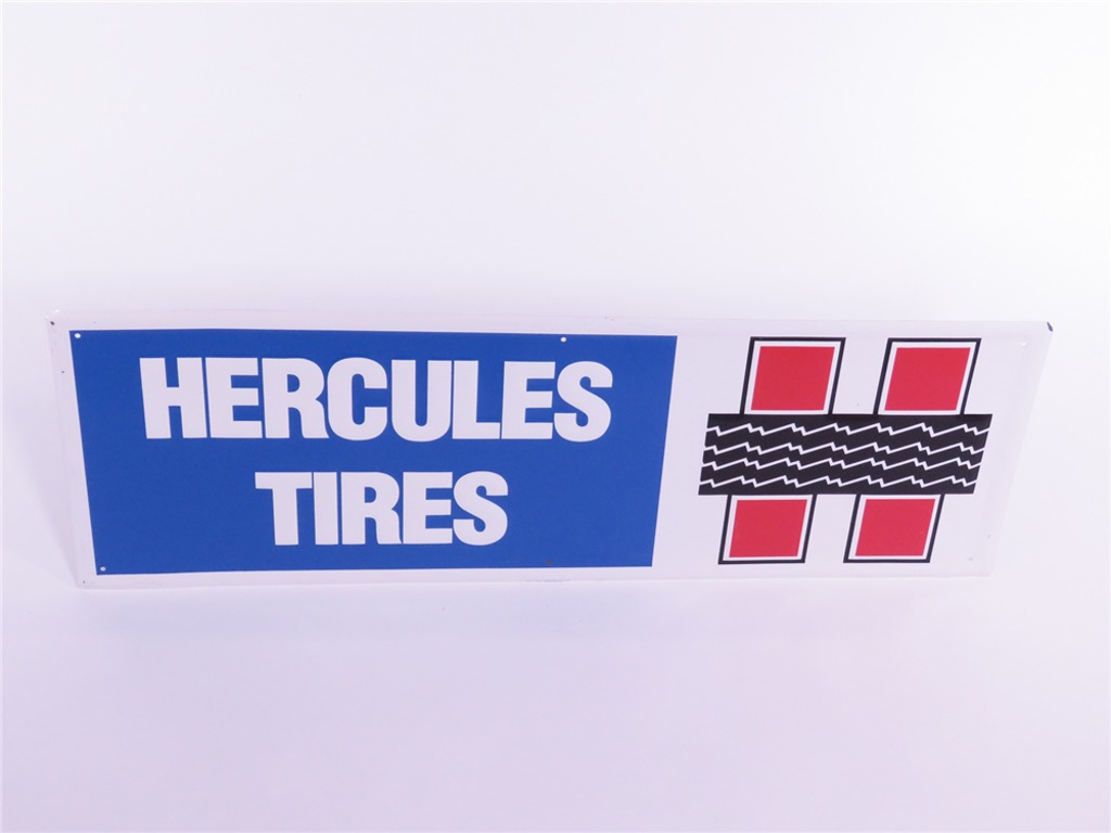 VINTAGE HERCULES TIRES EMBOSSED TIN GARAGE SIGN
