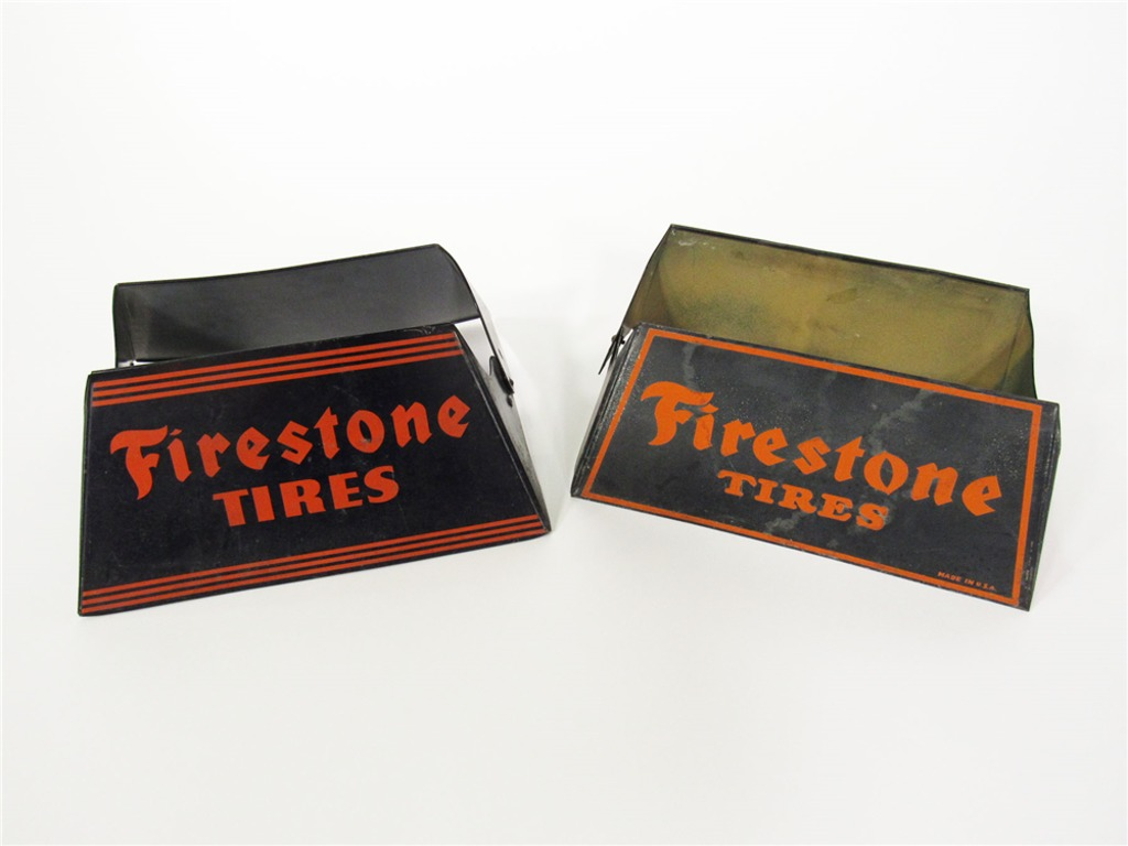 TWO 1930S FIRESTONE TIRES METAL TIRE DISPLAYS
