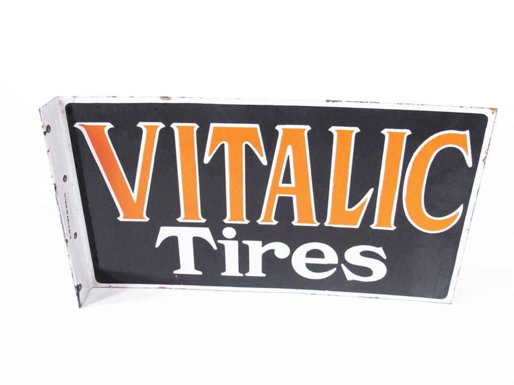 1930S VITALIC TIRES PORCELAIN AUTOMOTIVE GARAGE FLANGE SIGN