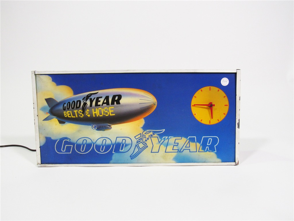 LATE 1970S GOODYEAR LIGHT-UP GARAGE SIGN WITH CLOCK