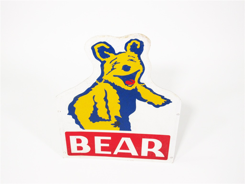 EARLY 1960S BEAR WHEEL ALIGNMENT TIN GARAGE SIGN