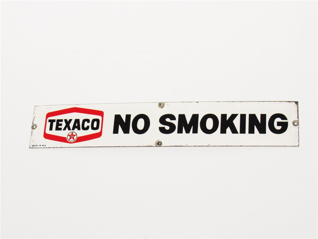 LATE 1950S-EARLY 60S TEXACO FUEL ISLAND NO SMOKING PORCELAIN SIGN