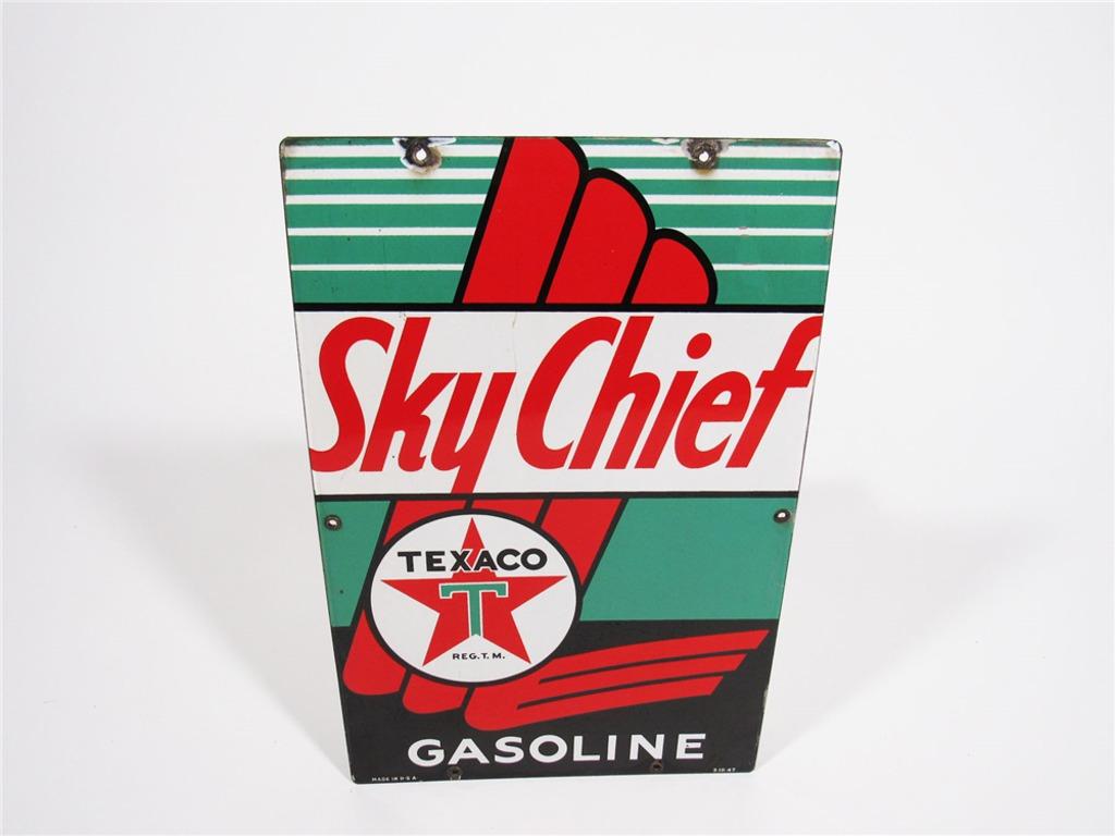 1947 TEXACO SKY CHIEF GASOLINE PORCELAIN PUMP PLATE SIGN