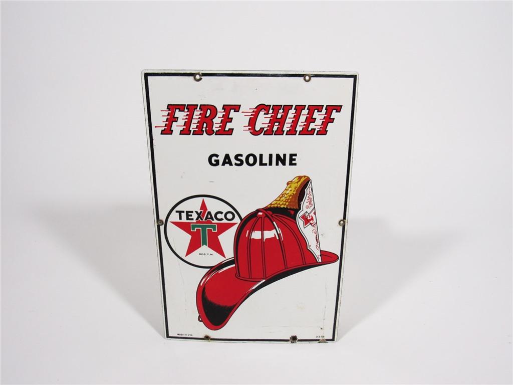 1953 TEXACO FIRE CHIEF GASOLINE PORCELAIN PUMP PLATE SIGN