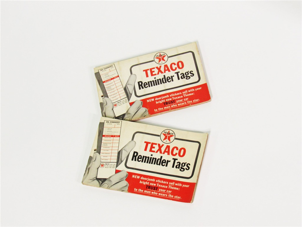 TWO 1960S TEXACO OIL SERVICE DEPARTMENT VEHICLE REMINDER TAGS