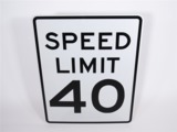 SPEED LIMIT 40 METAL HIGHWAY ROAD SIGN