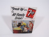 1950S FRESH UP WITH 7UP - THE ALL-FAMILY DRINK CARDBOARD SIGN