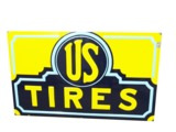 1930S U.S. TIRES EMBOSSED PORCELAIN GARAGE SIGN