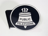 LARGE 1940S-50S BELL PUBLIC TELEPHONE TIN FLANGE SIGN