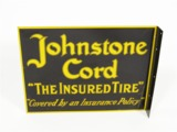 1930S JOHNSTONE CORD TIRES TIN PAINTED FLANGE SIGN