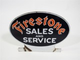 1930S FIRESTONE SALES AND SERVICE PORCELAIN GARAGE MARQUEE SIGN