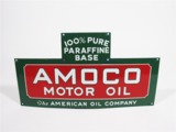 EARLY 1930S AMOCO MOTOR OIL PORCELAIN FUEL ISLAND BOTTLE RACK SIGN
