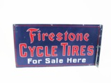 CIRCA LATE 1930S FIRESTONE CYCLE TIRES TIN GARAGE SIGN
