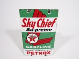 1959 TEXACO SKY CHIEF SU-PREME PORCELAIN PUMP PLATE SIGN
