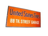 LARGE 1930S UNITED STATES TIRES 88TH STREET GARAGE PORCELAIN AUTOMOTIVE GARAGE SIGN