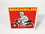 VINTAGE MICHELIN MOTORCYCLE TIRES TIN FLANGE SIGN