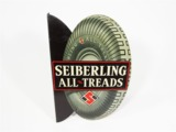 EARLY 1930S SEIBERLING ALL-TREAD TIRES TIN LITHO GARAGE FLANGE SIGN