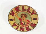 CIRCA LATE 1920S KELLY TIRES TIN GARAGE SIGN