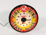 1960S AC FIRE RING SPARK PLUGS LIGHT-UP AUTOMOTIVE GARAGE WALL CLOCK