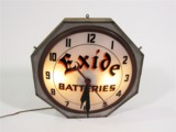 1930S EXIDE BATTERIES LIGHT-UP FILLING STATION CLOCK