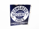 CIRCA LATE 1920S-EARLY 30S CONGRESS SECURITY TIRES PORCELAIN AUTOMOTIVE GARAGE FLANGE SIGN