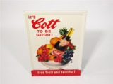 CIRCA LATE 1950S COTT SODA EMBOSSED TIN SIGN