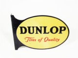CIRCA 1940S DUNLOP TIRES TIN AUTOMOTIVE GARAGE FLANGE SIGN
