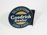 1930S GOODRICH SILVERTOWN CORD TIRES DEALER TIN GARAGE FLANGE SIGN