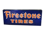 LARGE CIRCA 1930S-40S FIRESTONE TIRES PORCELAIN GARAGE SIGN