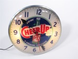 CIRCA LATE 1940S-50S CHEER UP SODA LIGHT-UP DINER CLOCK