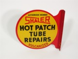 CIRCA 1930S SHALER HOT PATCH TUBE REPAIRS TIN PAINTED FLANGE SIGN