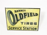 EARLY 1920S BARNEY OLDFIELD TIRES TIN LITHO FLANGE SIGN