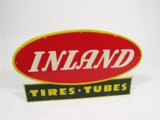 1950S INLAND TIRES-TUBES EMBOSSED TIN GARAGE SIGN