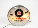 1961 MCCREARY TIRES LIGHT-UP GARAGE CLOCK