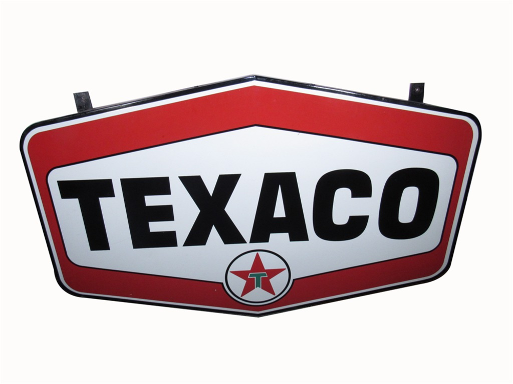 OUTSTANDING EARLY 1960S TEXACO OIL PORCELAIN SERVICE STATION SIGN