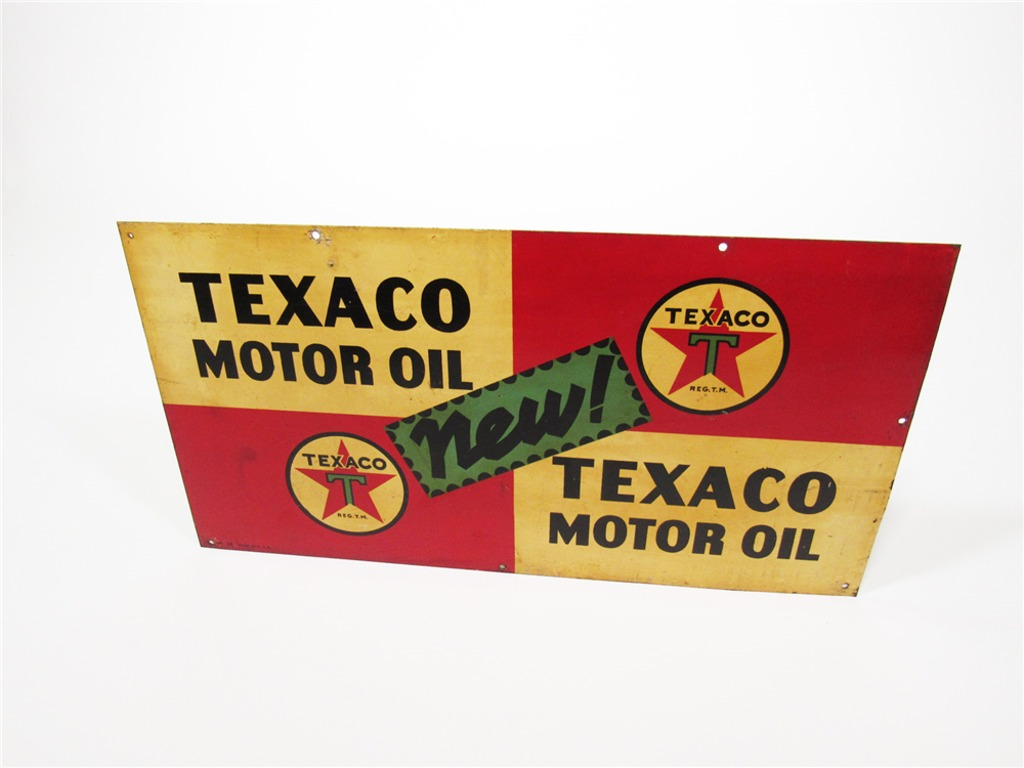 1936 TEXACO MOTOR OIL TIN SERVICE STATION SIGN