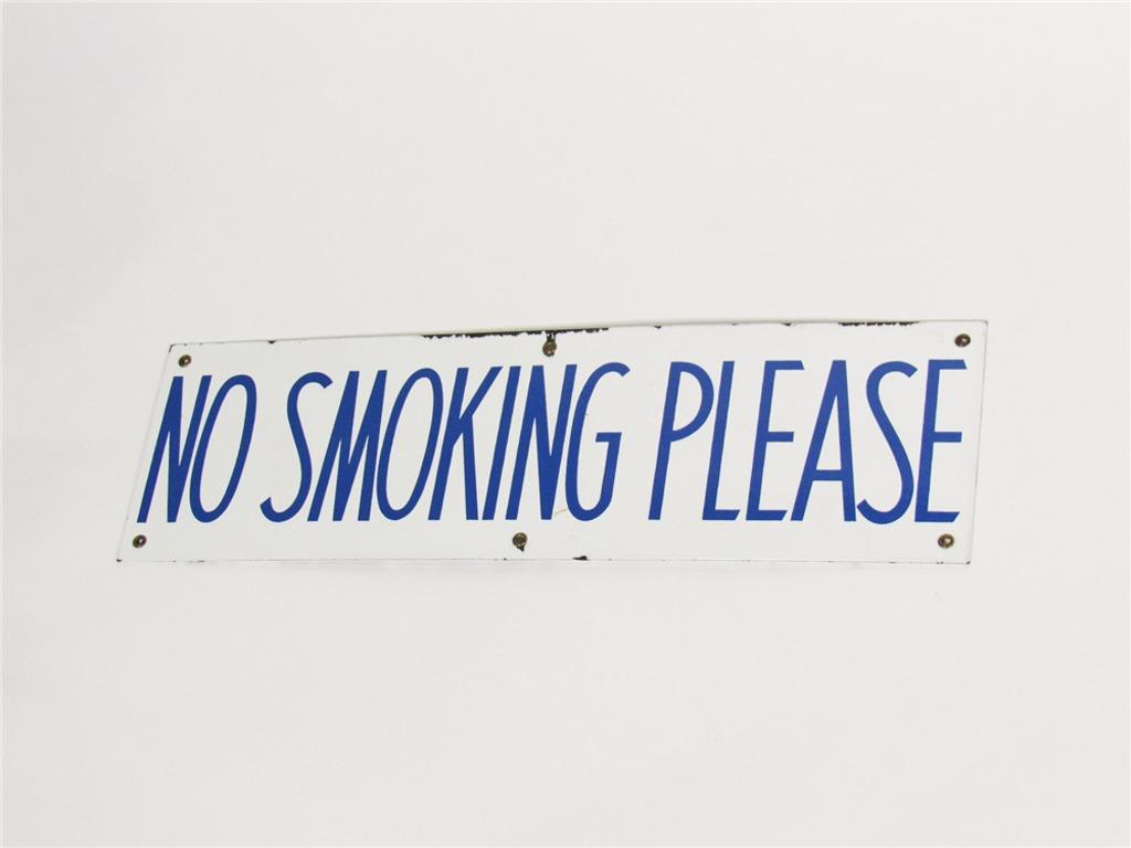CIRCA 1940S NO SMOKING PLEASE PORCELAIN FUEL ISLAND SIGN