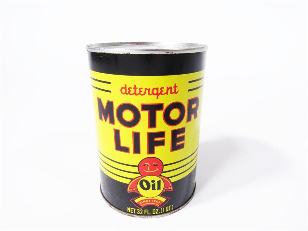 CIRCA 1940S MOTOR LIFE DETERGENT MOTOR OIL METAL QUART CAN