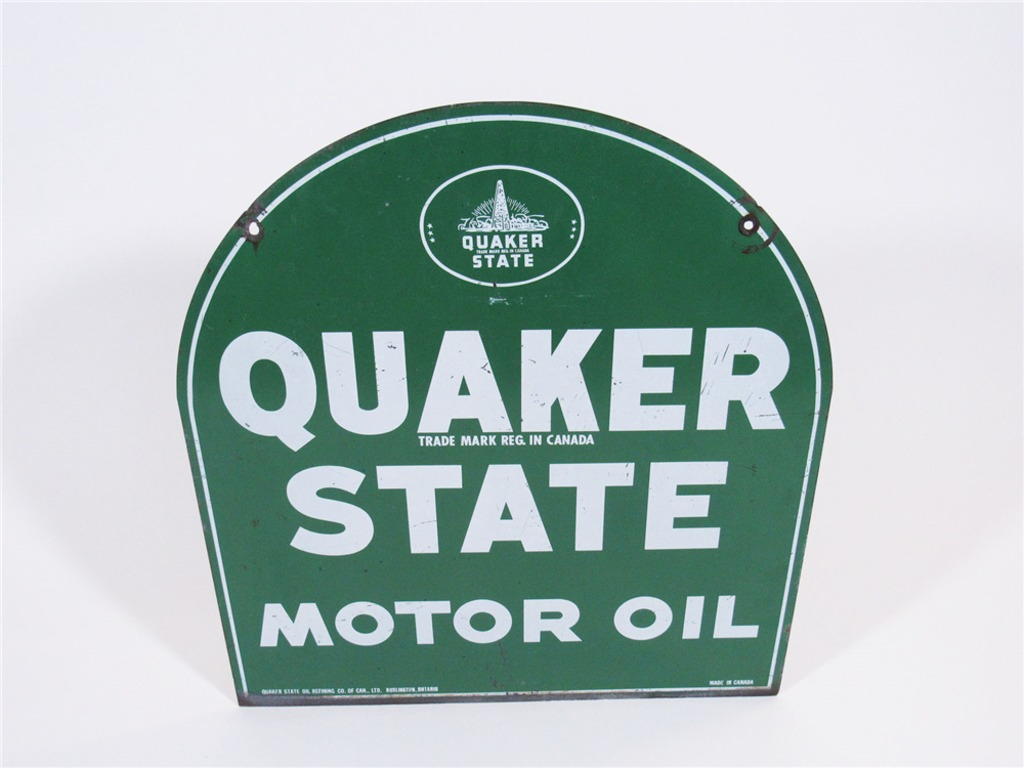 VINTAGE QUAKER STATE MOTOR OIL TIN SERVICE STATION SIGN
