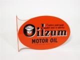1952 OILZUM MOTOR OIL TIN FLANGE SIGN