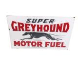 LARGE 1930S SUPER GREYHOUND MOTOR FUEL PORCELAIN DEALERSHIP SIGN