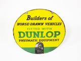 1930S DUNLOP TIRES HORSE-DRAWN VEHICLES PORCELAIN GARAGE SIGN