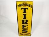 CIRCA 1940S PENNSYLVANIA TIRES EMBOSSED TIN AUTOMOTIVE GARAGE SIGN