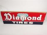 CIRCA 1940S DIAMOND TIRES EMBOSSED TIN SIGN