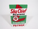 1959 TEXACO SKY CHIEF SU-PREME PORCELAIN PUMP PLATE SIGN