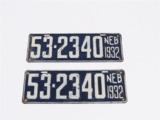 SET OF 1932 STATE OF NEBRASKA EMBOSSED METAL LICENSE PLATES