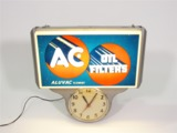 CIRCA 1950S AC OIL FILTERS GARAGE CLOCK WITH LIGHT-UP MARQUEE SIGN
