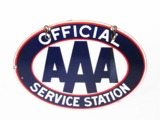 CIRCA 1950S AAA OFFICIAL SERVICE STATION PORCELAIN GARAGE SIGN