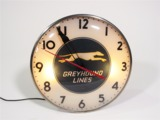 LATE 1940S-EARLY 50S GREYHOUND BUS LINES LIGHT-UP DEPOT CLOCK